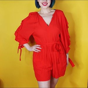 H&M Shorts - Red Ruffled Romper